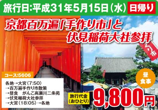 京都百万遍「手作り市」と伏見稲荷大社参拝